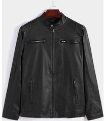 abrigo de chaqueta de cuero de pu con diseño de bolsillo de motorista de moda para hombre