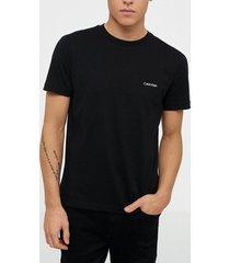 calvin klein cotton chest logo t-shirt t-shirts & linnen black