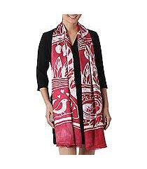 batik rayon scarf, 'bird home in cherry' (thailand)