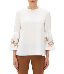 roslin floral silk bell-sleeve blouse