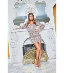metallic leopard print puff sleeve mini dress, nude