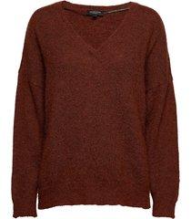 slflivana ls knit v-neck noos stickad tröja brun selected femme