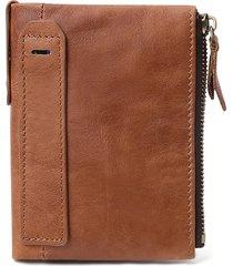 rfid antimagnetic vera pelle double zipper pocket wallet per donna uomo