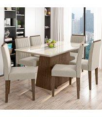 mesa de jantar 6 lugares bárbara 1184 100% mdf castanho/off white/wd22 - new ceval