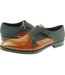 new handmade double monk, men's dress leather shoes, brown / black, color