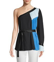 colorblock pleated top