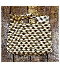 recycled plastic beaded handle handbag, 'spice and almond' (ghana)