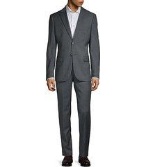 notch lapel slim wool suit