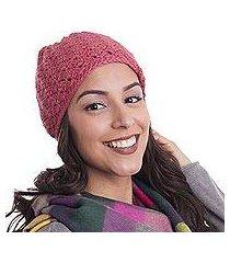 100% alpaca hat, 'strawberry princess' (peru)