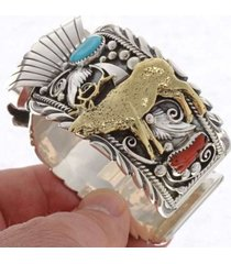 navajo turquoise coral  elk watch bracelet sterling silver gold cuff mens s7-8.5