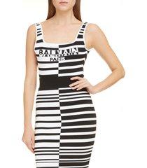 women's balmain logo stripe jacquard bodysuit, size 10 us - white