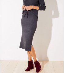 loft petite ribbed drawstring midi sweater skirt