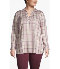 lane bryant women's plaid popover shirt 28 rose flannery plaid