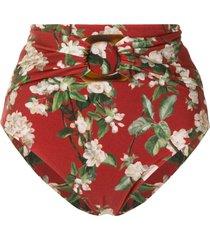 patbo floral print high-rise bikini bottoms - red