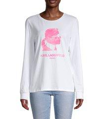 karl lagerfeld paris women's karl silhouette long-sleeve t-shirt - white pink - size xxs