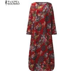 zanzea mujeres vestido largo maxi floral de la vendimia de impresión vestidos de alas de murciélago de manga larga bolsillos casual tamaño flojo vestidos plus -rojo