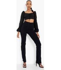 geweven stretch broek met split, black