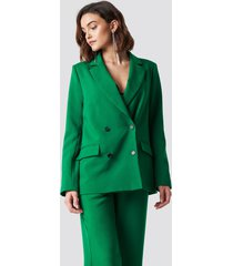 na-kd trend double breasted oversized blazer - green
