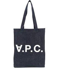 a.p.c. logo denim tote bag - blue