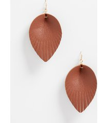 maurices womens cognac faux leather drop earrings brown