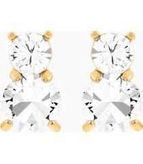 orecchini solitaire double, bianco, placcato oro