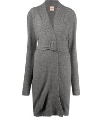 nude belted knit cardigan - grey
