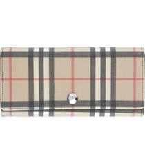 burberry continental wallet with check motif