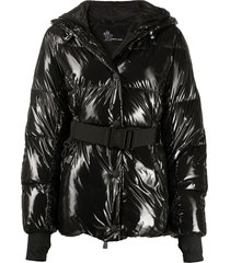 moncler grenoble padded belted down jacket - black