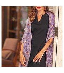 batik silk shawl, 'forest waves in iris' (indonesia)