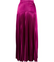 christopher kane long satin pleated skirt - pink