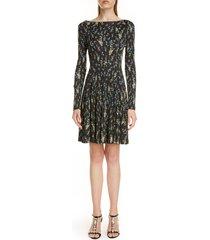 women's erdem floral print long sleeve fit & flare dress, size 8 us - black