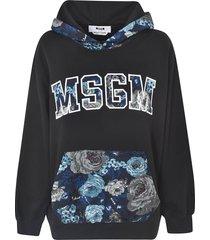 msgm floral logo hoodie