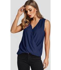 camiseta sin mangas con cuello de pico cruzado azul marino