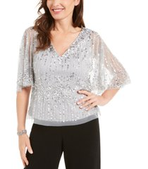 adrianna papell sequined capelet top