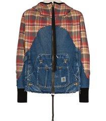 greg lauren 50/50 check denim zip hoodie - multicolour