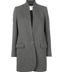 grey inverted lapel blazer