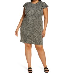 plus size women's vince camuto animal print shift dress, size 1x - green