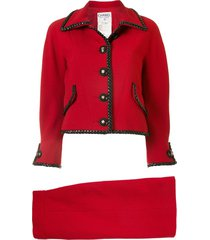 chanel pre-owned braided trimming skirt suit - red
