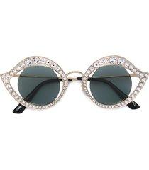 gucci eyewear studded cat eye sunglasses - metallic