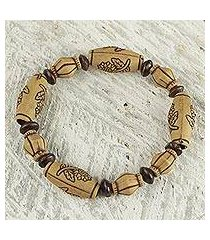 wood beaded stretch bracelet, 'sunflower power' (ghana)