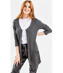 gemelle thermal open knit cardigan - charcoal