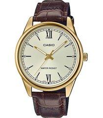 reloj casio mtpv005gl-9budf marrón cuero