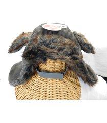 pet dog trapper hat faux fur lined gray corduroy winter clothes size m/l