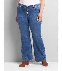 lane bryant women's signature fit flare jean - dark wash 20 dark denim