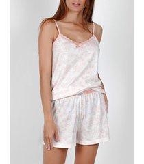 pyjama's / nachthemden admas pyjama kort hemdje zomerbloemen roze