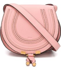 chloé mini marcie round saddle bag - pink