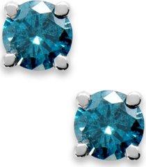 10k white gold blue diamond round stud earrings (1/5 ct. t.w.)