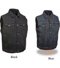 men's snap front motorcycle biker denim vest w/ shirt collar