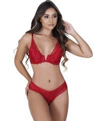 conjunto lingerie estilo sedutor em renda decote v vermelho - vf49