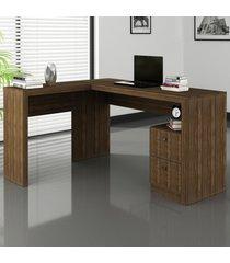 mesa para escritório 2 gavetas nogal me4129 - tecno mobili